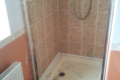 the shower cubicle as it was